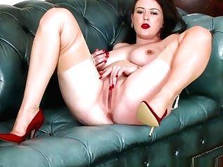 Big Tits Stunner Peels Off Milky Retro Undergarments Wanks In Nylons